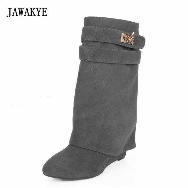 JAWAKYE Metal Köpekbalığı Kilit Kadın Botları Tasarımcı Lüks Deri Orta Buzağı Kış Ayakkabı Kadın Takozlar Artan Yükseklik Katmanlı Botları