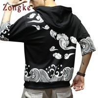 2018 New Japan Style Waves Print Hoodie Sweatshirt Mens Hoodies Men Hip Hop Half Sleeve Hooded