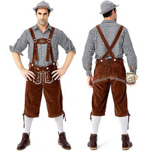 German traditional Grey and brown Oktoberfest couple costumes European American bar overalls Alpine adult women
