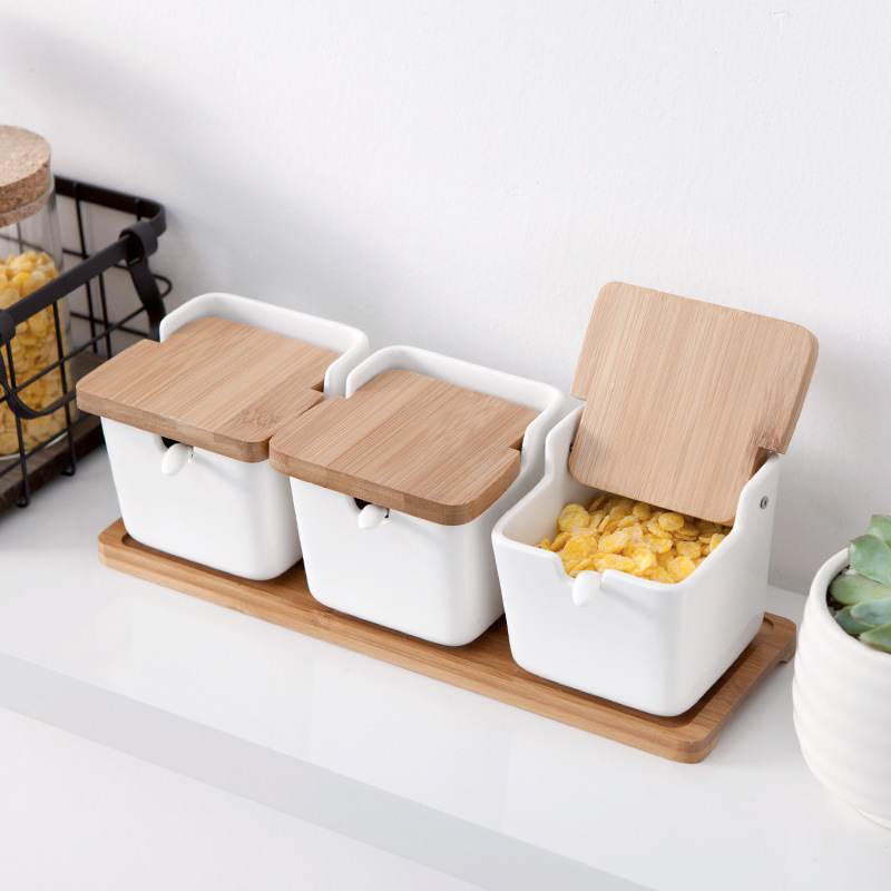 Set of <font><b>Pots</b></font> & Porcelain Bamboo Cover - Container Condiment Jars Seasoning Rack