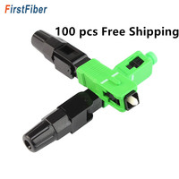 SC APC Fast Connector adapter 100pcs SC PC Connector support 0.9mm 2.0mm 3.0mm Indoor and FTTH Flat Cable Fast/Quick Field