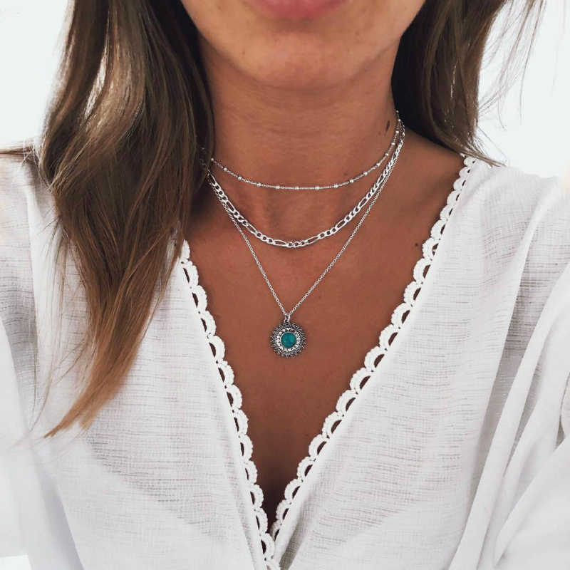 New Necklace Fashion Bohemian Style Ancient Silver Songshi Female Multi-layer Necklace Combination Hot Sell Jewelry Wholesale