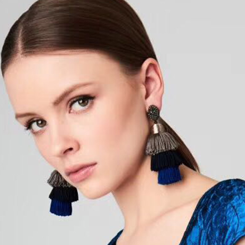 Best lady Charm Multilayers Tassel Earrings Jewelry Brand Christmas Gifts Maxi Colorful Drop Dangle Earrings For Women Wholesale
