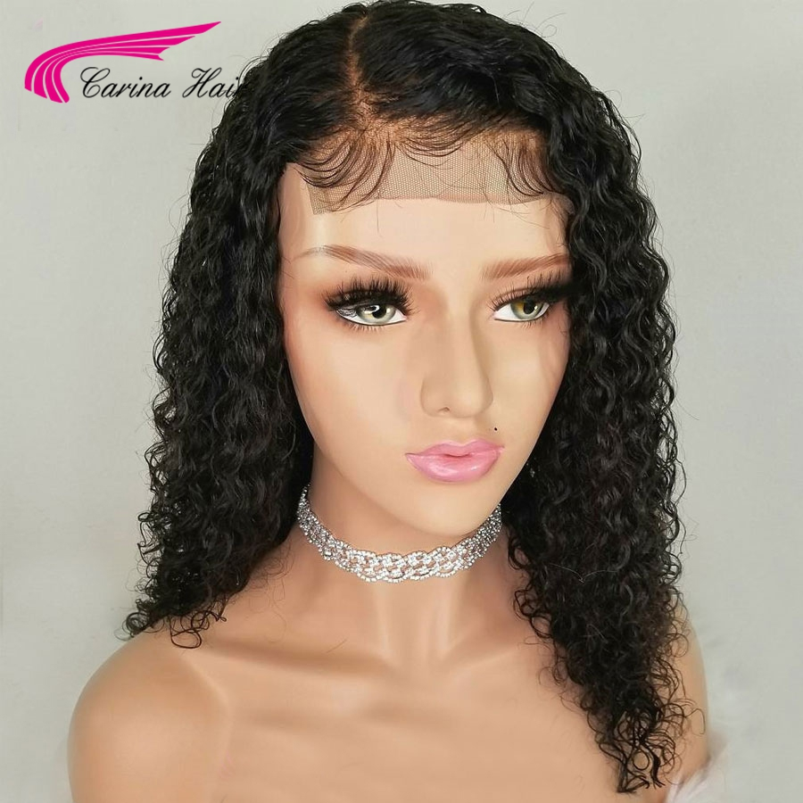 Carina Brazilian Kinky Curly Lace Front Human Hair Wig With Baby Hair Remy Hair Glueless Wig Free Part Pre-Plucked Hairline