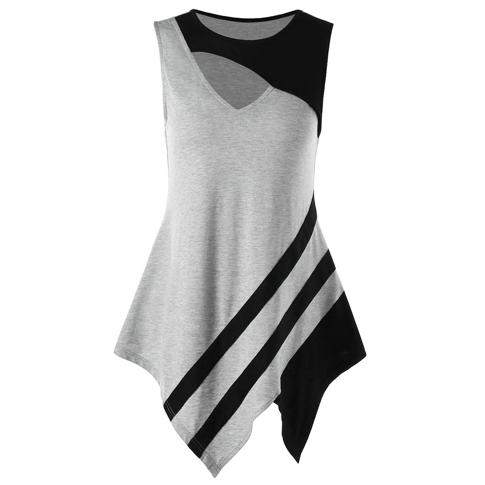 Fashion women top color block cutout asymmetric hollow out patchwork tank top summer vest ropa mujer 2018 #6m