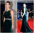 Kim Kardashian Verde Escuro Da Sereia Da Celebridade Vestidos No Tapete Vermelho de Cristal De Veludo Frisado Mulheres Vestidos de Noite do baile de Finalistas Vestido Longo 2016