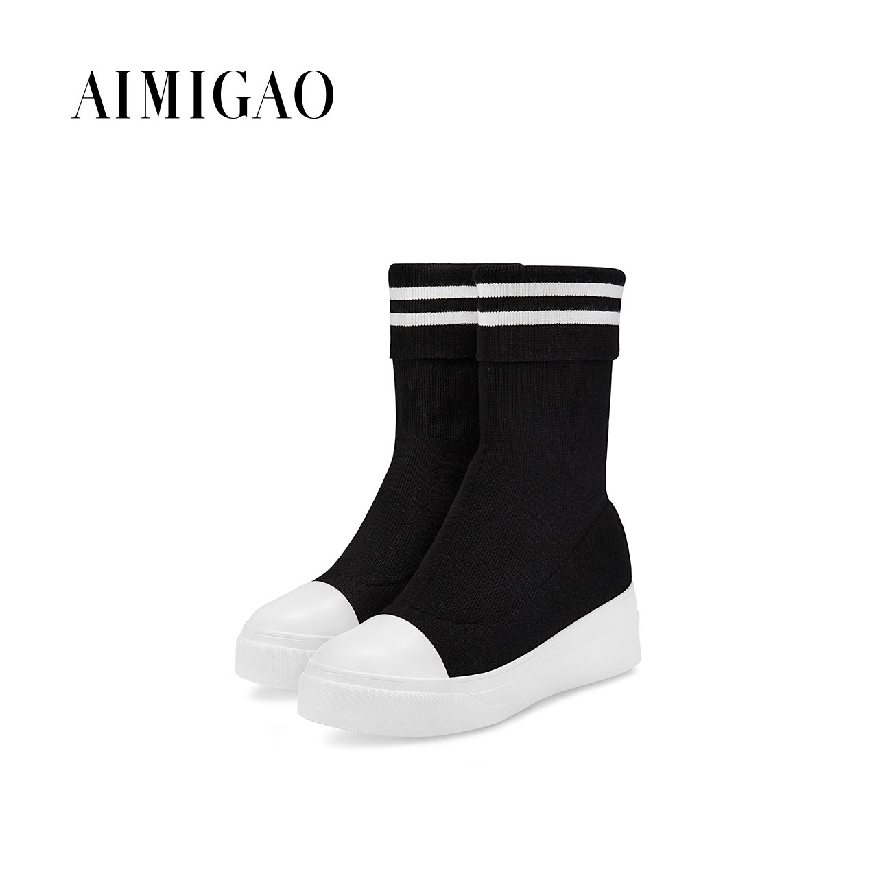 Women Socks Boots Platform Shoes Woman Botas Mujer Shoes Flat Casual Mid-calf Female Autumn Knitting Stripe Woolen Socks Boots double buckle cross straps mid calf boots