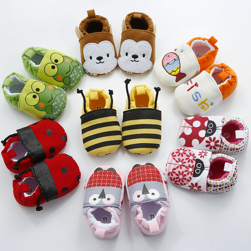 New Arrival Baby Infant Cartoon Shoes 0-18M Boys Girls Non-Slip Sole Cute Lovely Footwear Toddler Newborn Soft First Walkers
