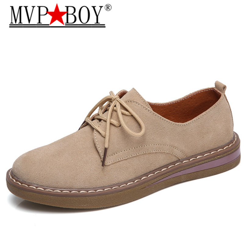 MVP BOY 2018 Spring women sneakers oxford shoes flats shoes women   leather     suede   lace up boat shoes round toe flats moccasins