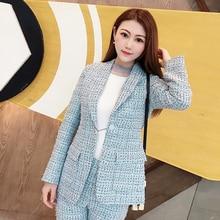 2019 Spring Autumn Brand Runway New Light Blue Tweed Blazers Women Shawl Collar