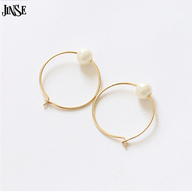 Jinse She006 Simple Gold Earring Designs For Women Original Ultrafine Metal Exquisite Small Imitation Pearl