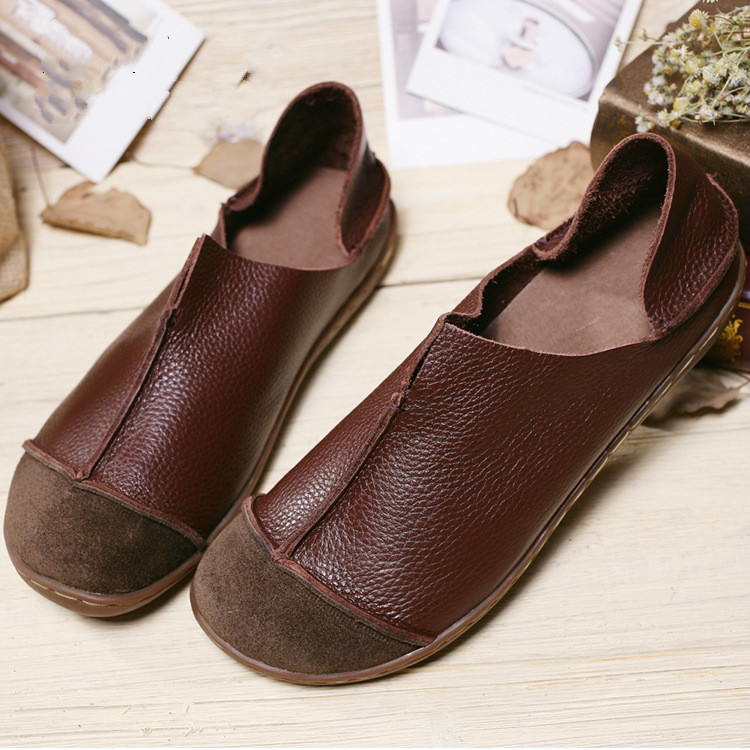 Women Genuine Leather Flat Shoes Vintage Soft Hand Made
