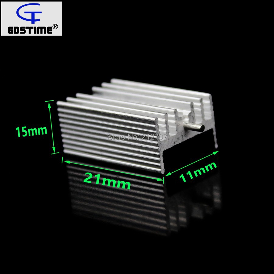 500Pcs Gdstime Aluminium TO-220 Heatsink TO 220 Heat Sink Transistor Radiator TO220 Cooler Cooling 7805 21*15*10MM