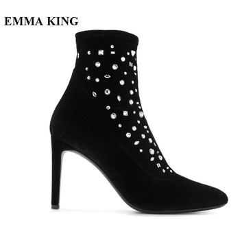EMMA KING Suede Winter Ankle Boots Women Rhinestone Studded Pointed Toe Boots Sexy Lady Banquet Dress Zapatos De Mujer Plus Size