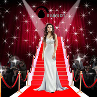 Allenjoy Photographic Background Tees Dazzling Red Carpet Fashion Photography Fantasy Send Rolled Fabric Vinyl Photocall