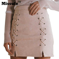 Missufe 3 Colors Bandage Bodycon Autumn Winter Lace Up Leather Suede Women Pencil Skirt 2016 Cross Strap High Waist Women Skirt