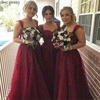 Бордовый тюлевые Платья для подружек невесты длинные 2019 аппликации длинное свадебное платье для гостей индивидуальный заказ vestido de festa longo