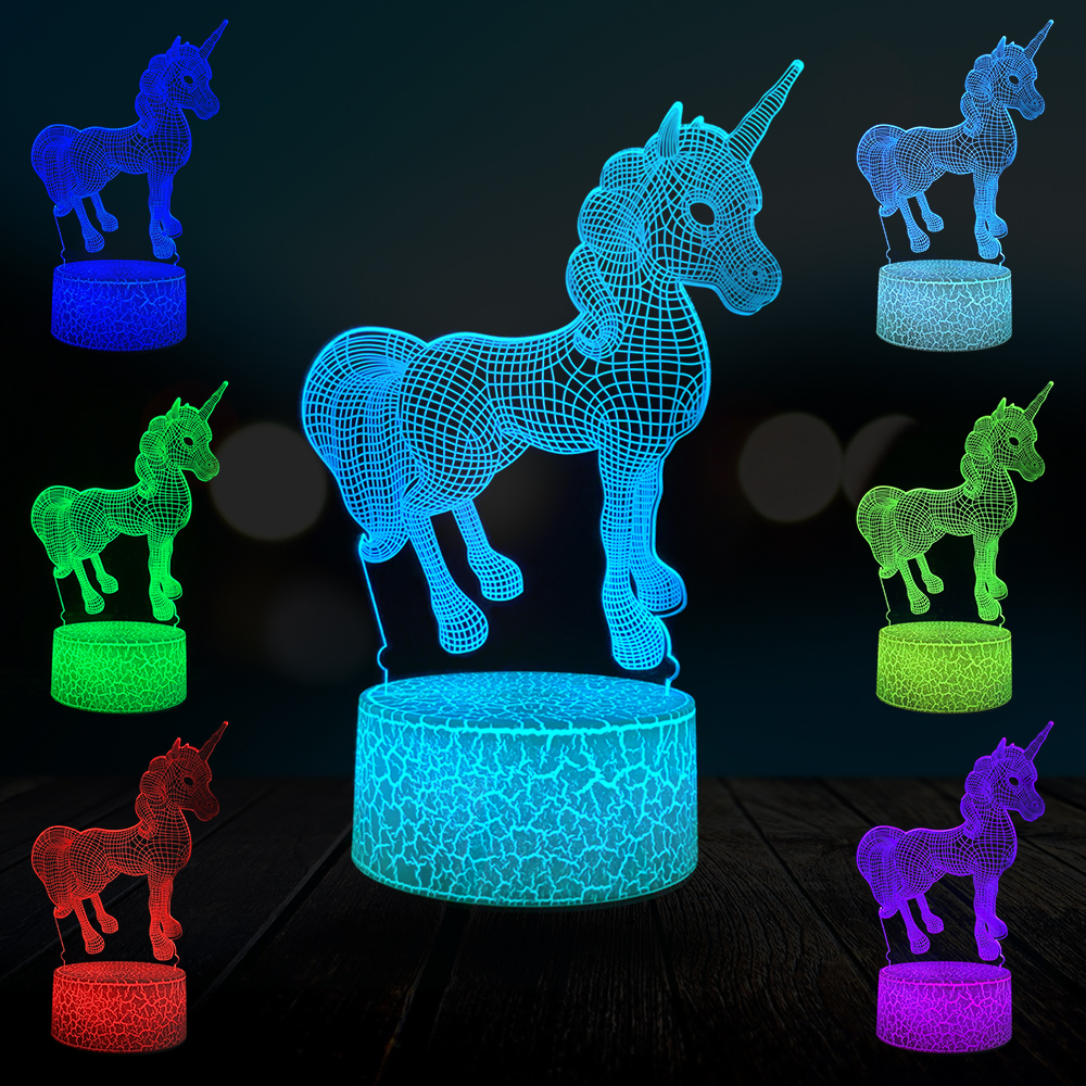 2019 Cartoon Unicorn 3D Lamp LED Night Light Gift Bedroom Decor Multicolor Party Birthday Kid Toy Table Lava Crack DropShipping