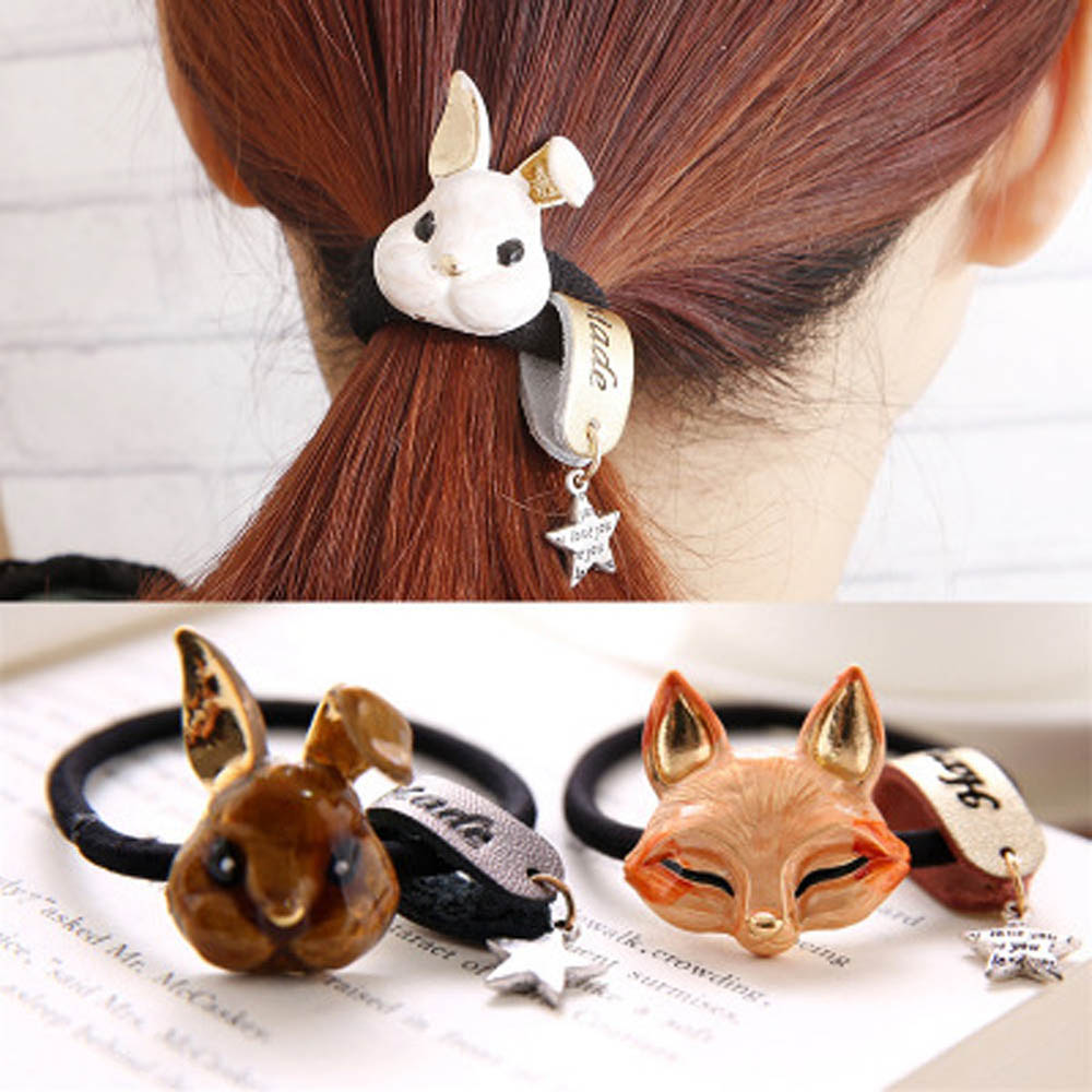 Hair Rope Rabbit Fox Cat Bows Ring Elastic Hair Headdress Hair Accessories Women   Headwear   Headbands Head Decorations