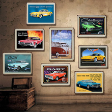 Coche Retro Vintage placa de Metal estaño signos calcomanías para póster, mural de pintura Bar Club Pub casa decoración de pared 30*20cm 1001 (650)