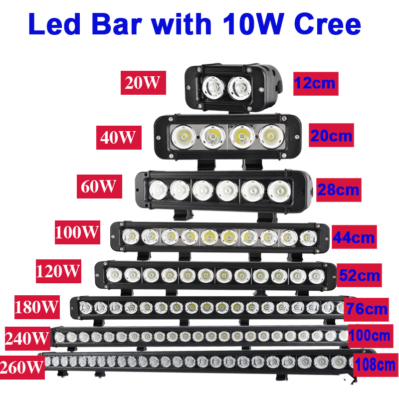 25inch 120W LED Single Row Light Bar CREE Spot Lamp Offroad Jeep Ford 4D Optical