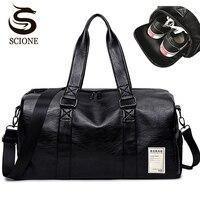 Mens PU Leather Travel Bag Male Big Duffel Bag for Men Women Handbags Large Shoulder Bag with Side Zipper Pocket Unisex Bolsa
