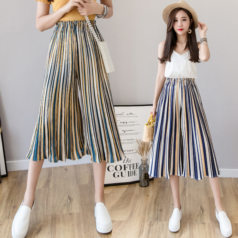 Chiffon Pleated   Wide  -  leg     Pants   Female Summer Fashion High Waist Beach Striped Casual Ruffled Women   Pants   Multicolor 18 Colors