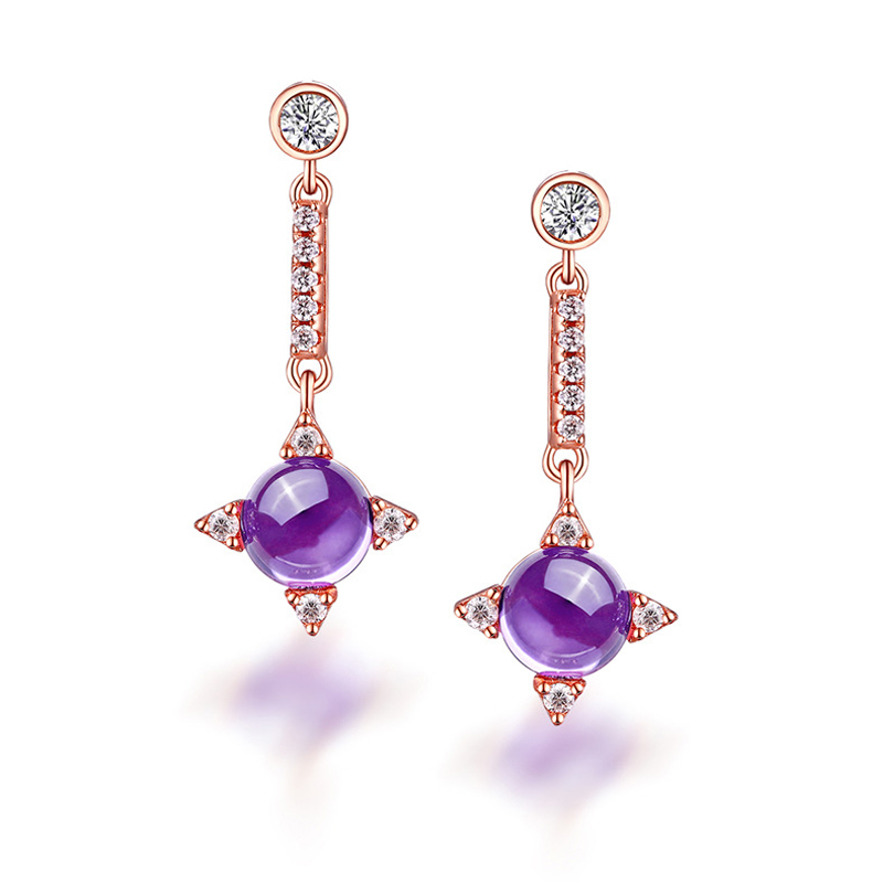 ANI 925 Sterling Silver Women Natural Amethyst Earrings Color Gemstone Jewelry Elegant Dangle Earrings for Female Birthday Gift pair of sweet candy color gemstone embellished earrings for women