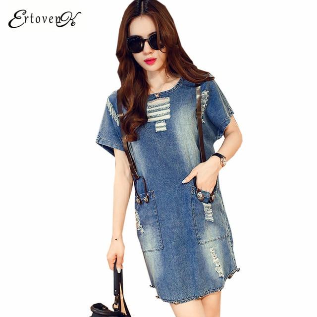 f363bfa2e9357 فساتين 2017 جديد الصيف الدنيم كاوبوي اللباس ملابس نسائية عادية مريحة أنيقة  قصيرة الأكمام حجم كبير