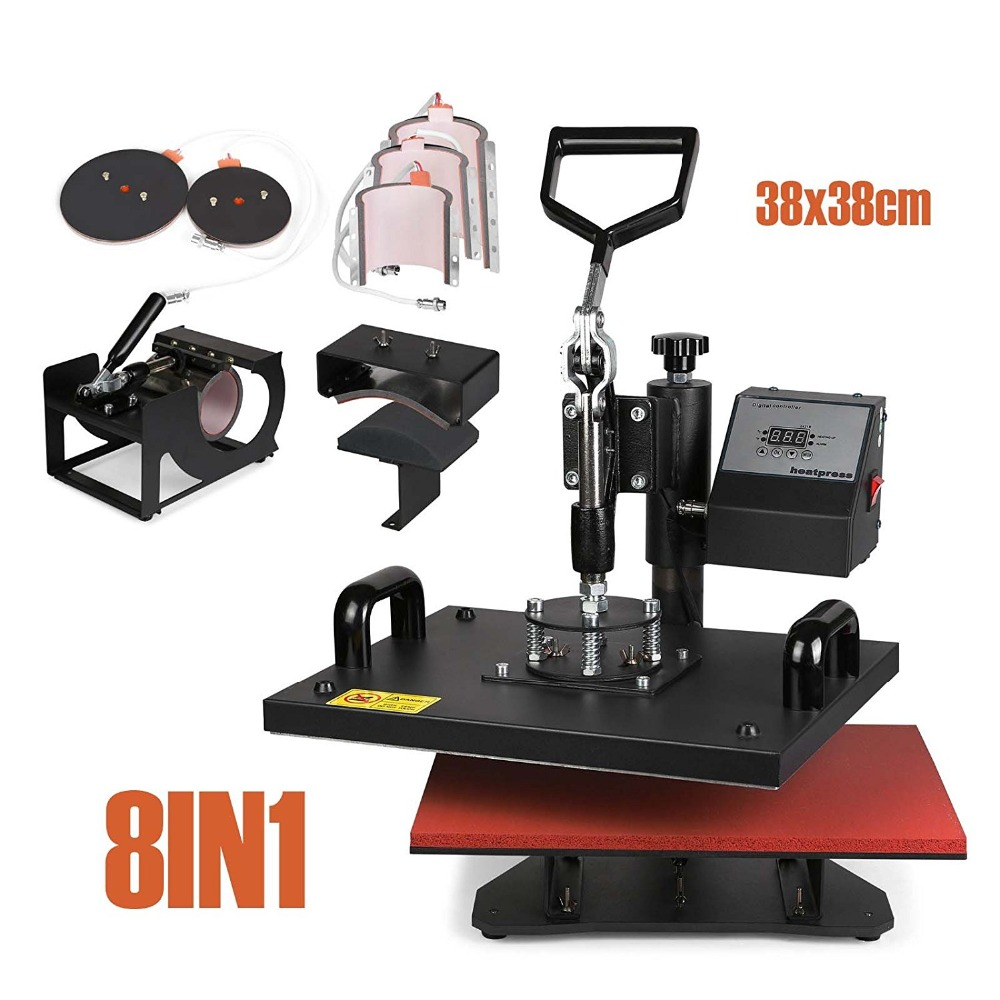 Heat Press Machine 8 in 1 38x38cm Multifunction Sublimation Desktop Iron Baseball Hat Press 15x15 Digital Swing Away Transfer plate press machine digital swing away heat press machina sublimation transfer for 10 inch plates 15cm diameter printining