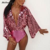 2019 Bikinis Sexy Swimsuit Bodysuit Women Swimwear Sequined Deep V Neck Bikini Push Up Jumpsuit Bathing Suit Beachwear Pink