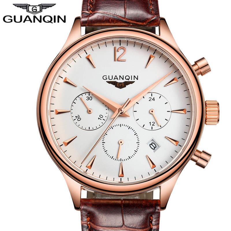 все цены на Relogio Masculino GUANQIN Mens Watches Top Brand Luxury Fashion Wristwatch Men Sport Leather Strap Quartz Watch Montre Homme