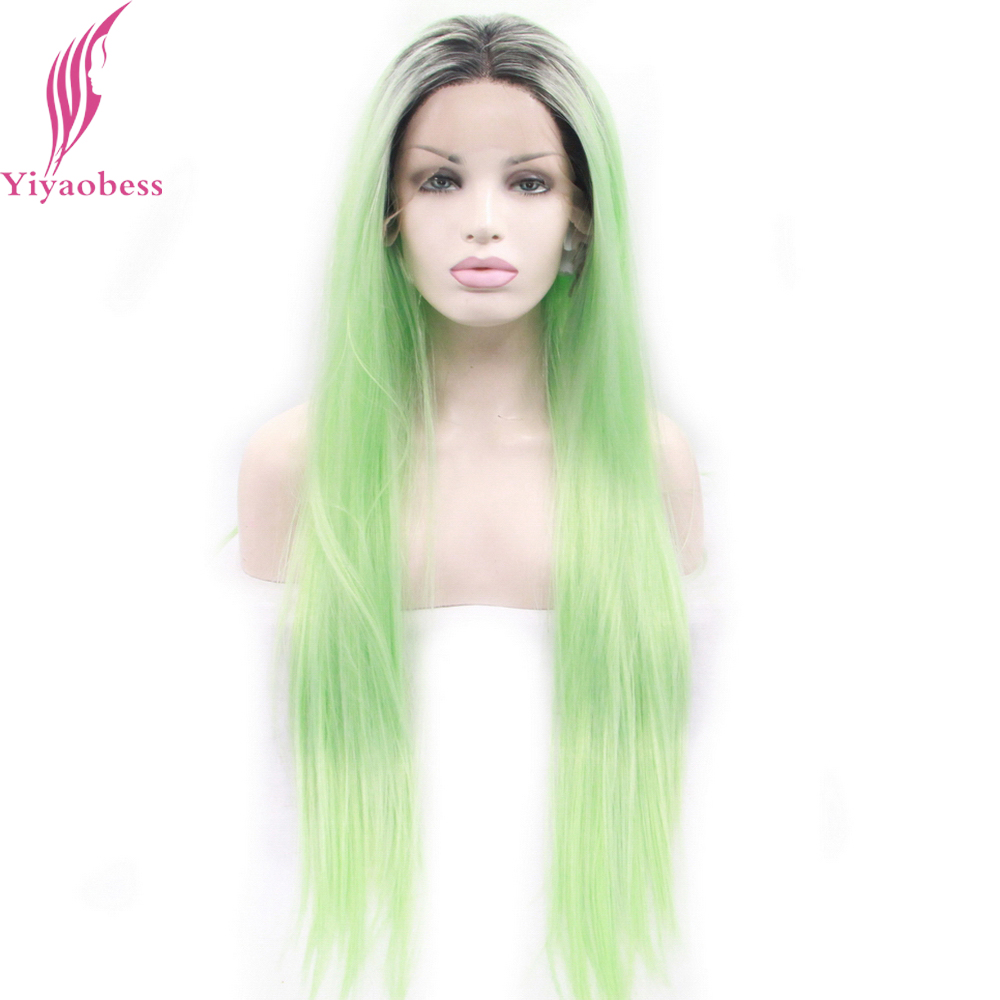 Yiyaobess Dark Roots Mint Green Ombre Lace Front Wig Synthetic Glueless Two Tone Middle  ...
