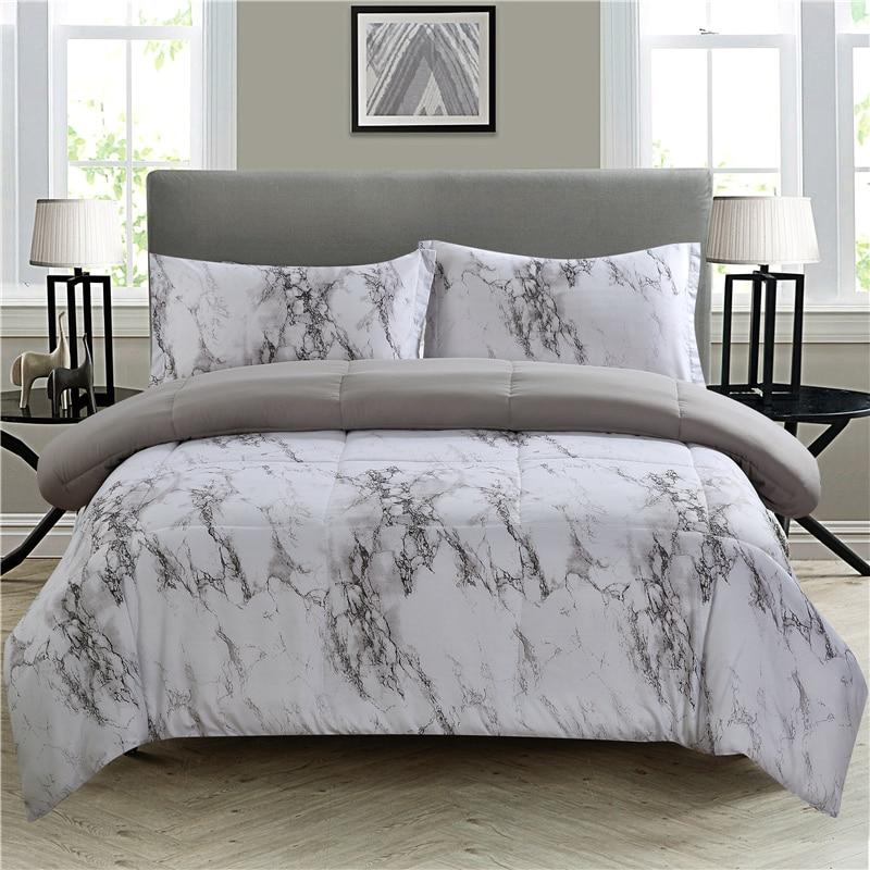 Bonenjoy Marble Comforter Bedding Set Queen Size Black And