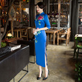 New Arrival Fashion Silk Satin Long Cheongsam Chinese Vintage Style Women's Print Dress Elegant Qipao M L XL XXL XXXL