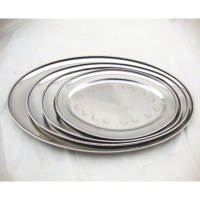 Dinner Plates Oval Dishes Flat Plates Anti-shock Metal Stainless Stell Buffet Dishes Shallow Restaurant  sc 1 st  AliExpress.com & Dinner Plates Oval Dishes Flat Plates Anti shock Metal Stainless ...