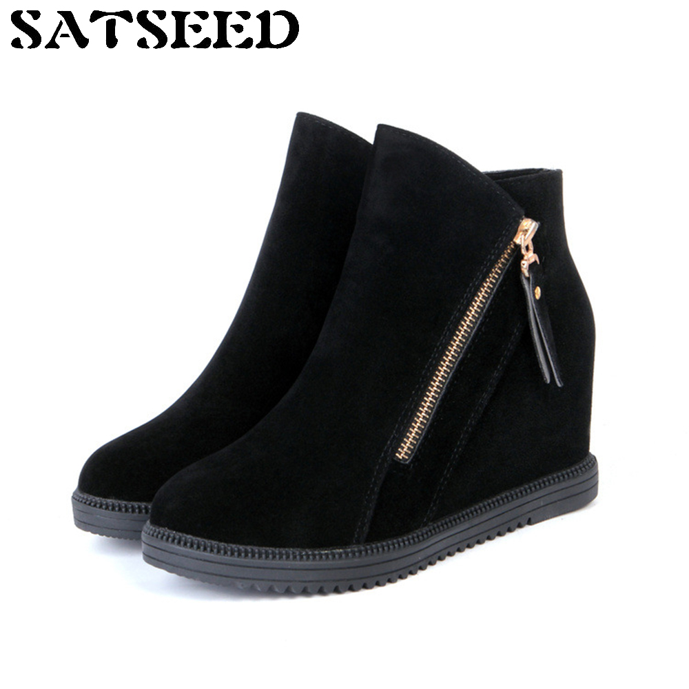 Womens Autumn Boots Winter Boots Snow Shoes Ankle Wedge Leather Wedge Hidden Heel Shoes Ankle Boots Black Ladies High Shoes 2017 autumn winter new womens leather ankle boots ladies black short boots round toe high block heel zip up booties size