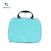 2017 Fashion PU Leather Women Girls Cute Cosmetic Case Make up bag with Pink&Blue Color