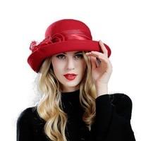 Winter Warm Wool Hat Female Vintage Fedora Elegant Hat Girls Floral Wool Fedoras Hat Wide Brim Church Hat M75