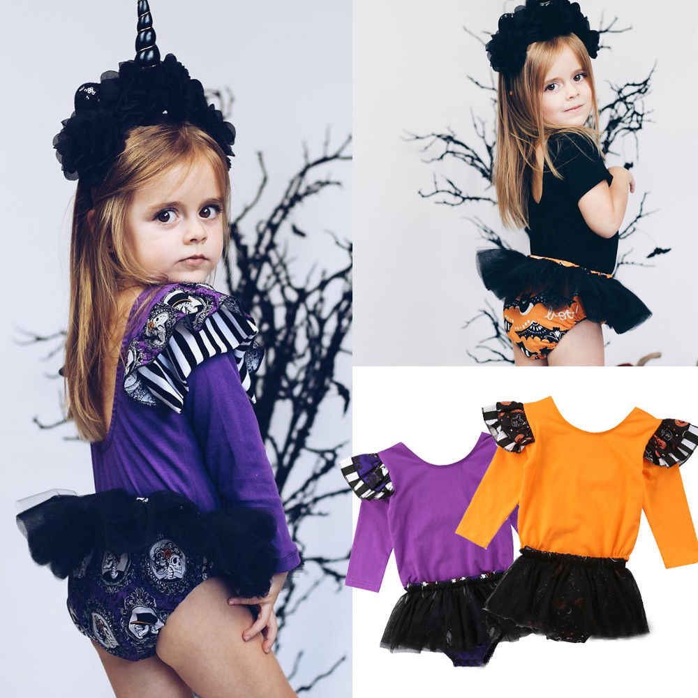 564bd48293c5 Newborn Infant Baby Girls Halloween Party Romper 2PCS Long Sleeve Ruffles  Romper+Cartoon Print Lace