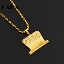 CARA New arrival stylish Fashion gold color Barber Shaver Pendant&Necklace Plated stainless steel mens hip hop necklce CAGF0369