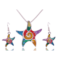 Esmalte de la manera Starfish Joyería Conjuntos Para Chicas de Oro Plateado Animales Estrellas de Mar Joyería Étnica Del Pendiente de La Vendimia