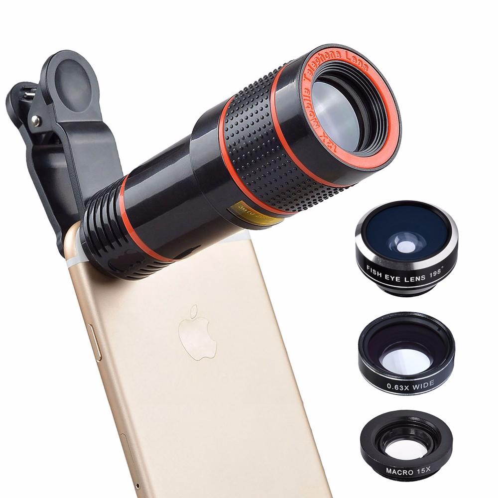 APEXEL 6IN1 phone camera lens 12X Telescope telephoto Zoom+fisheye wide angle macro Lens kit For iPhone7 6S plus Samsung s8 8