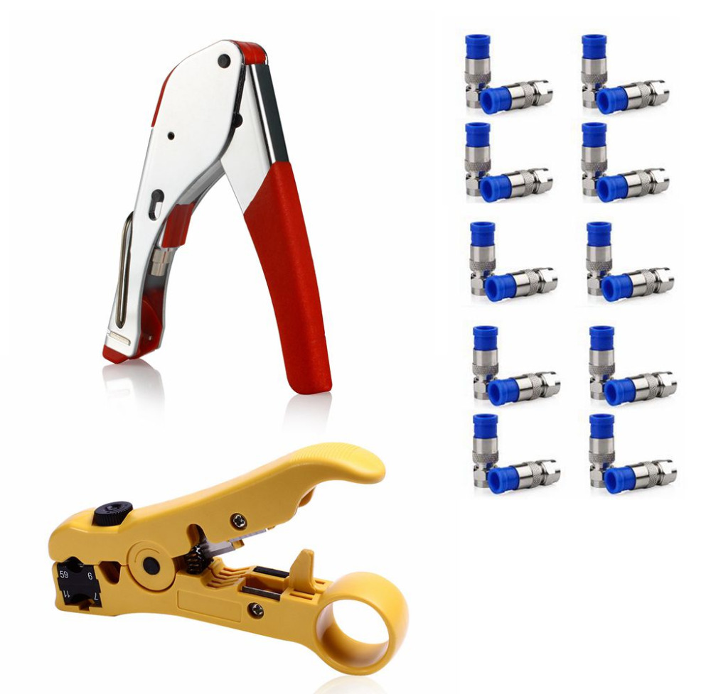 1Set Network Tool with 1pc Compression Crimp +20pcs RG6  Connectors +1pc Cable Cutter Tool Wire Stripper Stripping Tool pro skit 8pk 313b 5 in 1 wire bolt cutter crimping stripping tool yellow black