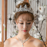 New Rhinestone Wedding Jewelry Sets Handmade Necklace Earrings Set Fashion Wedding Jewellery For Brides With Tiara