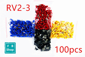100pcs RV2-3 red blue black yellow Round pre insulated terminal cold pressed terminal copper nose cable connect