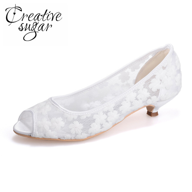 a29fa3fbc784 Creativesugar Perspective see through mesh lace open toe shoes wedding  party prom cocktail low heel mother heels white pink blue