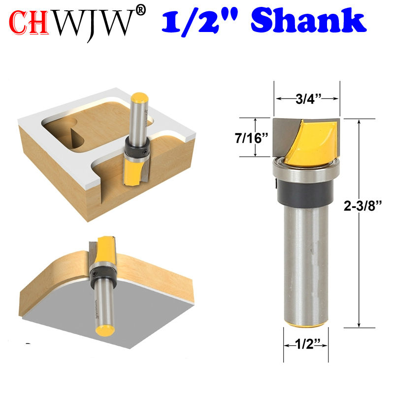 1pc Mortise/Template Trim Router Bit - Bottom Cleaning - 1/2