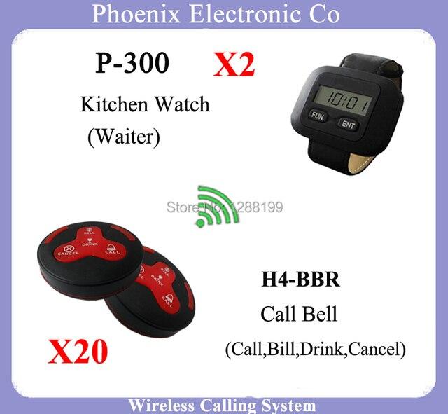 2016 Nuevo Wireless Sistema de Llamada Del Camarero Para Restaurante consiste en Invitado Localizador Reloj Y Restaurante Camarera Llamada Campana de La Venta Caliente