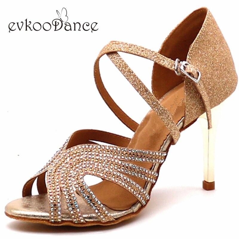 Zapatos De Baile Professional Golden Blue Glitter With Rhinostone Latin Dancing Shoes 8 5 7cm Heel